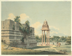 The four-pillared mantapam of the Vijayanagar period in front of the unfinished gopuram of the modern temple, Mahabalipuram